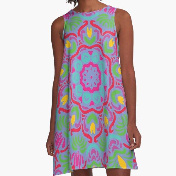 Startling Bright Floral Mandala A-Line Dress