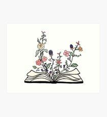 Blumen wachsen aus Buch Kunstdruck