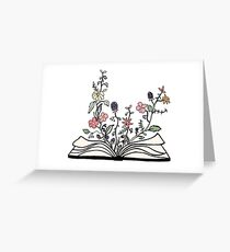 flowers growing from book  Greeting Card