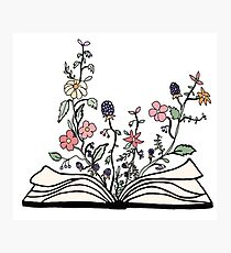 flowers growing from book  Photographic Print