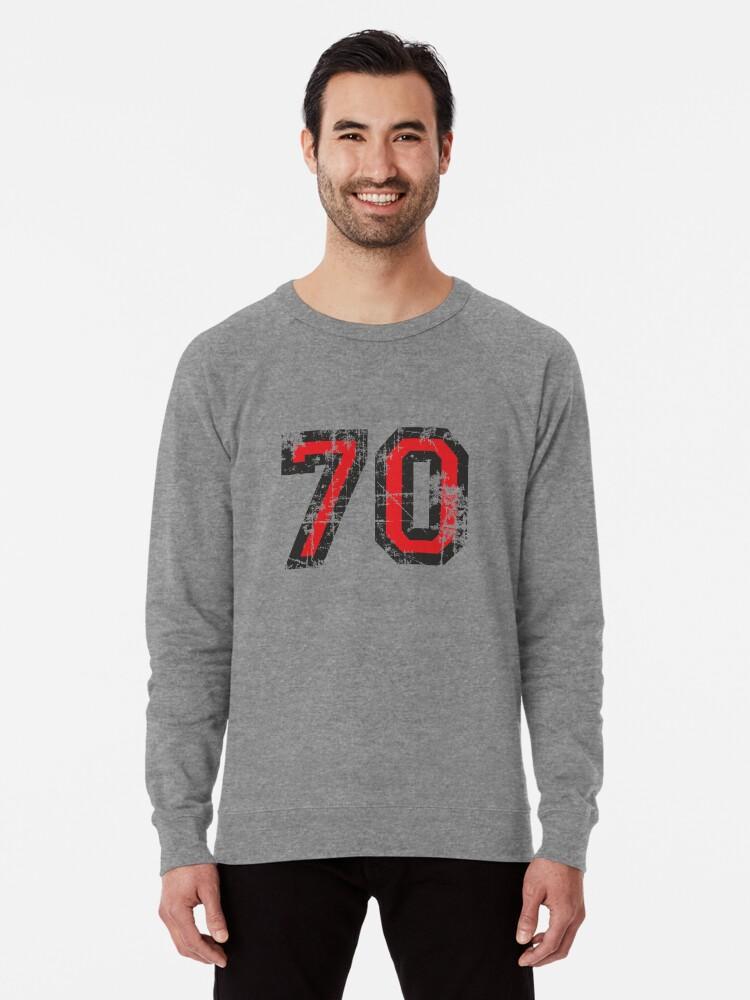 7851506c Add to cart. Number 70 Black/Red Vintage 70th Birthday Design Lightweight  Sweatshirt