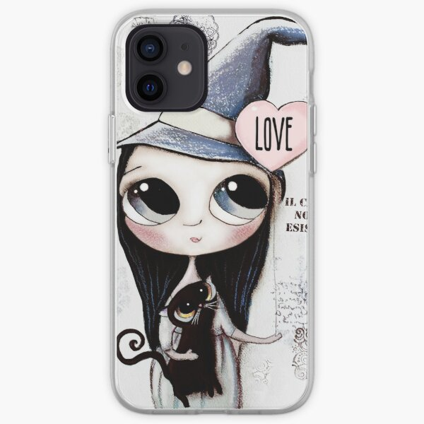 Witch with black hair and black cat and heart of Love iPhone Soft Case