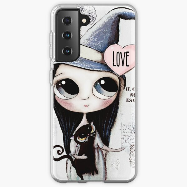 Witch with black hair and black cat and heart of Love Samsung Galaxy Soft Case