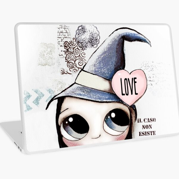 Witch with black hair and black cat and heart of Love Laptop Skin