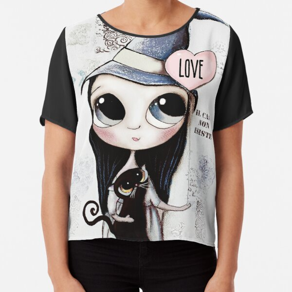 Witch with black hair and black cat and heart of Love Chiffon Top