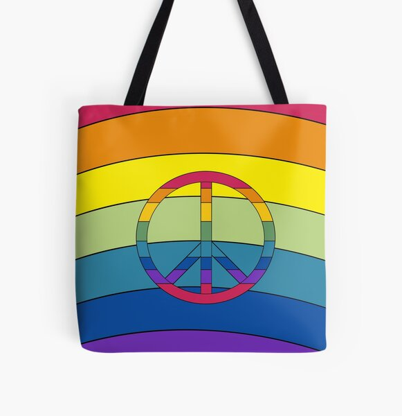 Peace in Rainbows All Over Print Tote Bag