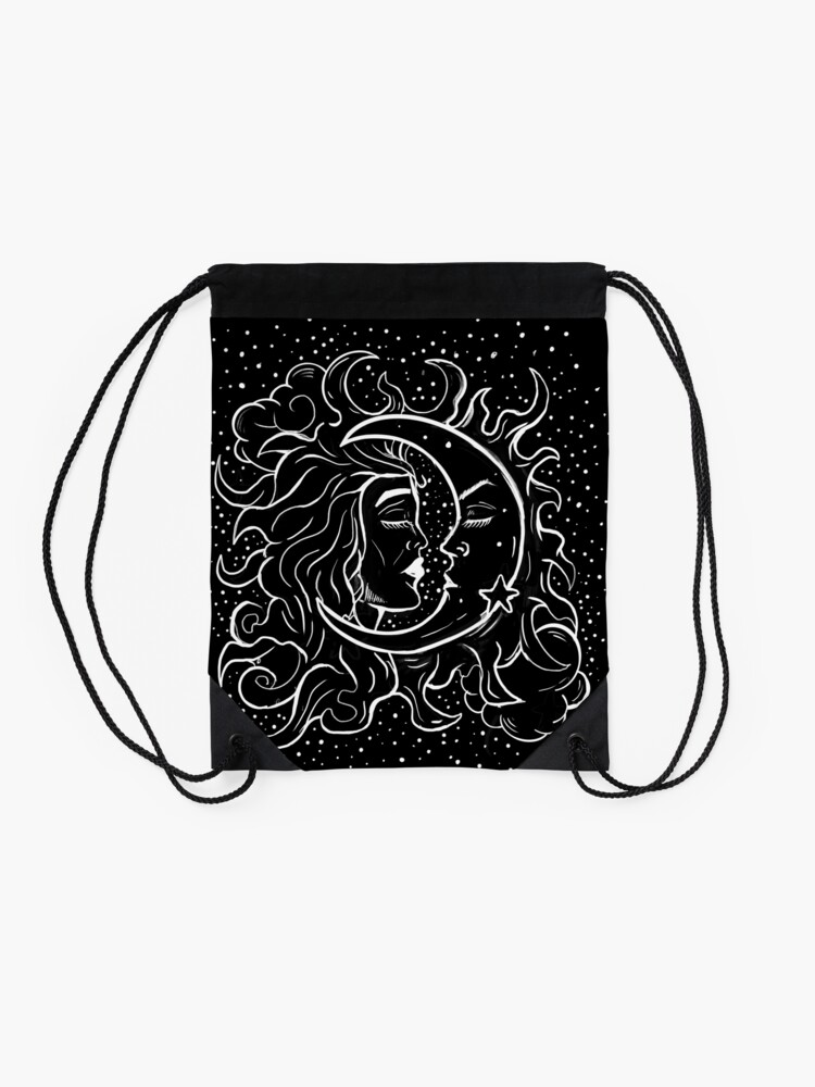 Alternate view of Sun & Moon Gothic Witchy Hand Drawn Design Drawstring Bag