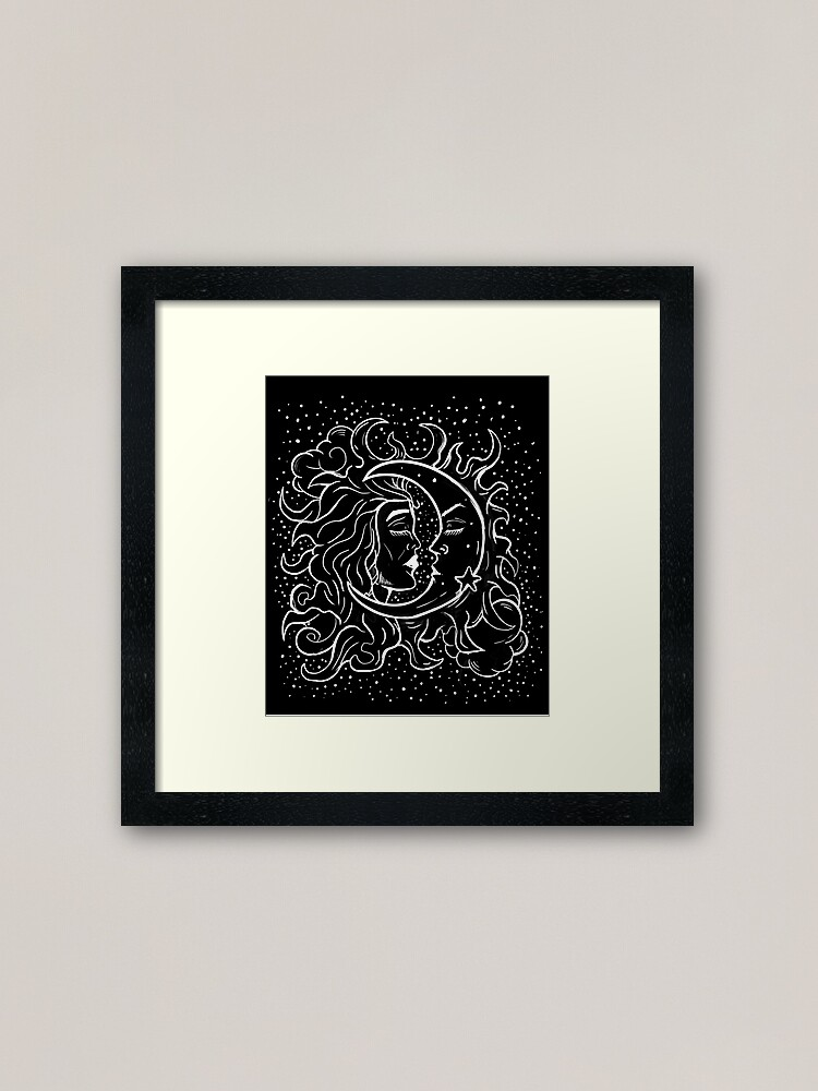 Alternate view of Sun & Moon Gothic Witchy Hand Drawn Design Framed Art Print