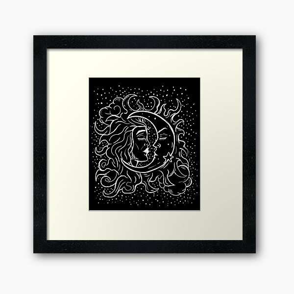 Sun & Moon Gothic Witchy handgezeichneten Design Gerahmter Kunstdruck