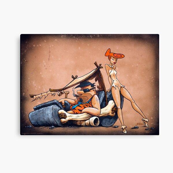 The Flintstones go Lowbrow Canvas Print