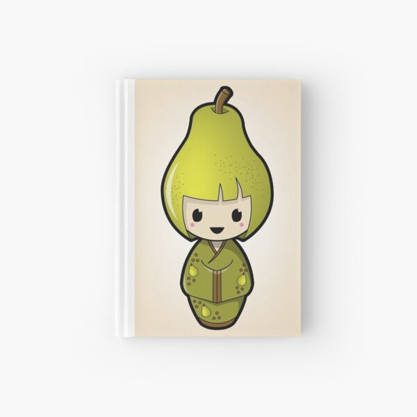 Pear Kokeshi Doll Hardcover Journal