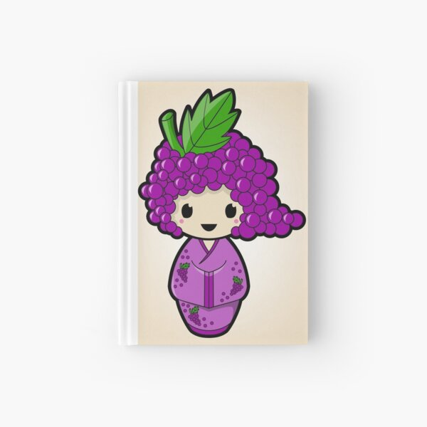 Grape Kokeshi Doll Hardcover Journal