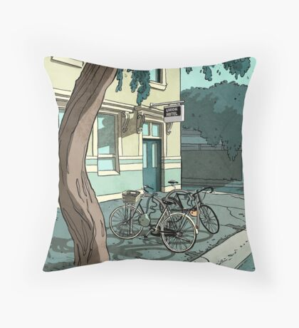 bicycles at the Hotel Throw Pillow