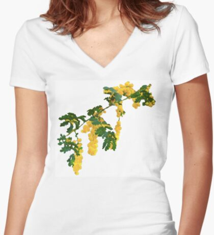 Wattle Fever - White Fitted V-Neck T-Shirt