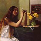 Weinlese Felix Vallotton La Jeune fille au miroir 1911 von AllVintageArt