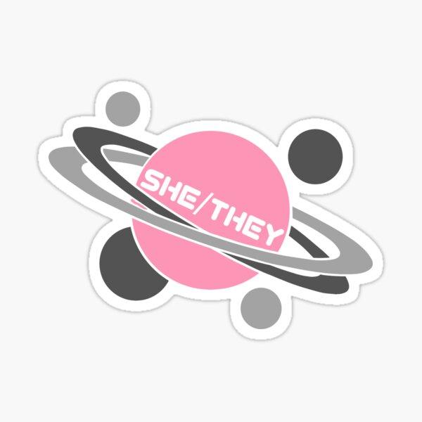 Demigirl Pride Pronoun Planet - she/they Sticker