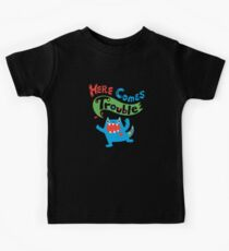 Here Comes Trouble on dark Kids Tee
