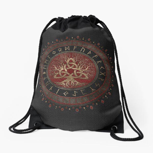 Tree of life with Triquetra Black Red Leather and gold Drawstring Bag