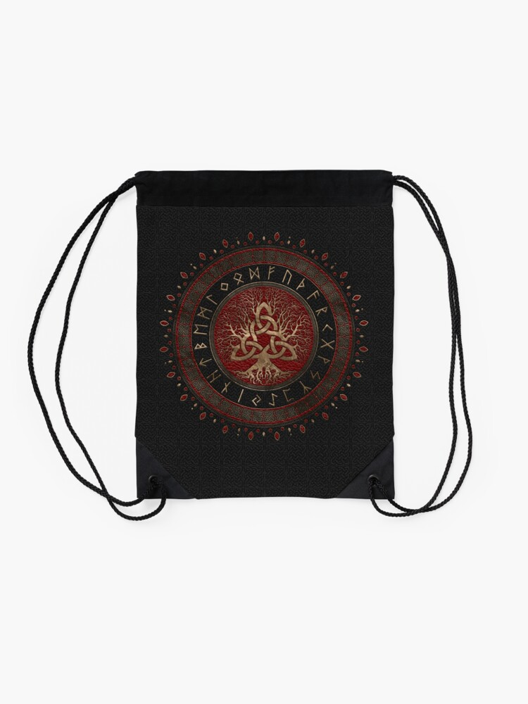 Alternate view of Tree of life with Triquetra Black Red Leather and gold Drawstring Bag