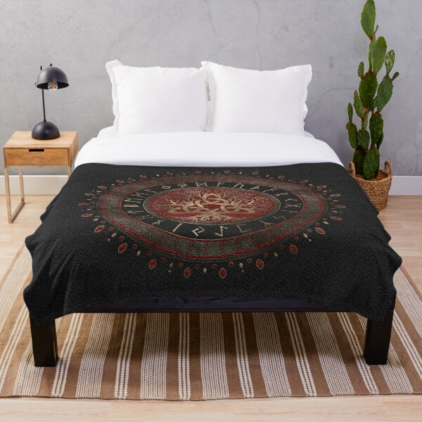Tree of life with Triquetra Black Red Leather and gold Throw Blanket