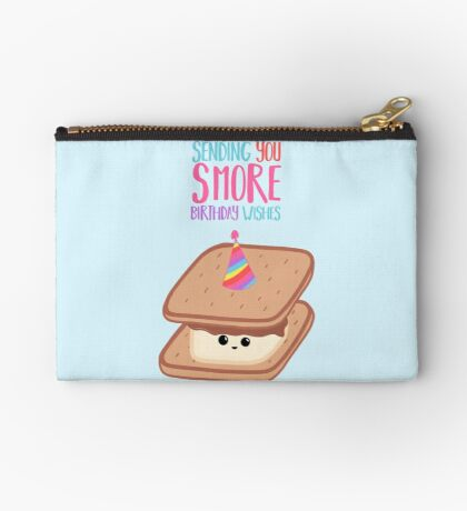 SMORE Birthday Wishes - Smore Pun - Birthday Puns - Funny Birthday - Food - Food Puns - Sweet Treats Zipper Pouch