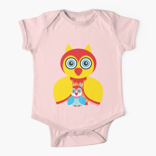 Mother and Baby Owl Short Sleeve Baby One-Piece
