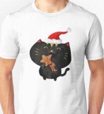 Christmas Black Cute Cat T-Shirt