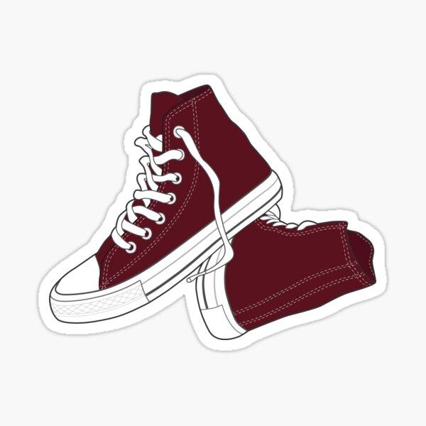 Retro Vintage Popular Maroon Shoe  Sticker