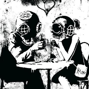 Banksy romantic couple wearing deep sea diving helmets by furioso