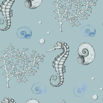 Teal seafoam ocean II de peggieprints