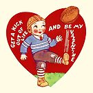 Vintage Valentine Football Be My Valentine by CafePretzel