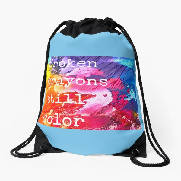 Broken Crayons Drawstring Bag