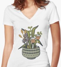 Cheeky Modern Botanical Fitted V-Neck T-Shirt