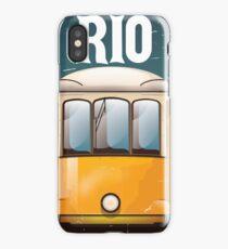 Rio Brazil Vintage Tram vacation travel poster. Brazil tram holiday print. iPhone Case