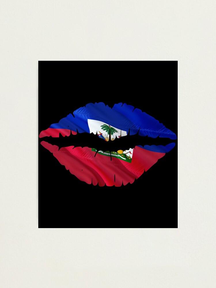 Lips Haitian Flag Makeup Bag Gift Haiti Expat Country