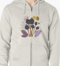 Fall Seed Pod Bouquet Zipped Hoodie