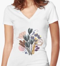 Fall Bouquet Fitted V-Neck T-Shirt