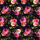 Lovely pink hand drawn watercolor florals pattern on dark blue - double layer by UtArt