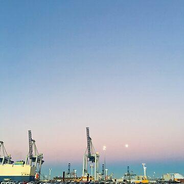 Wharf Cranes Moon by urbanfragments