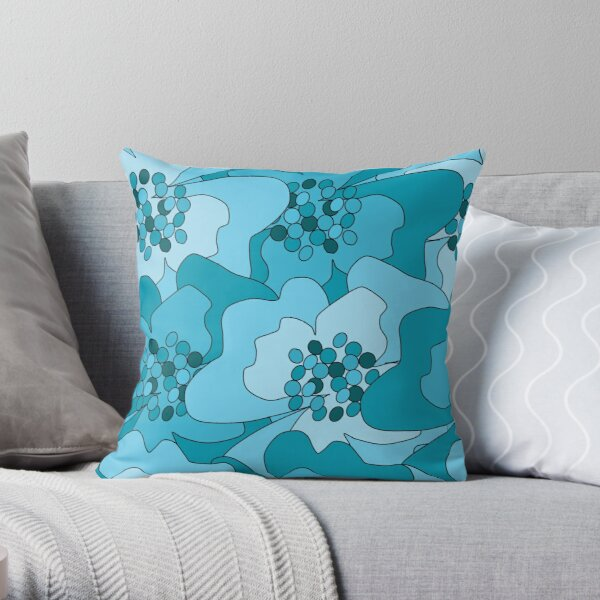 Turquoise Passion Flowers Throw Pillow