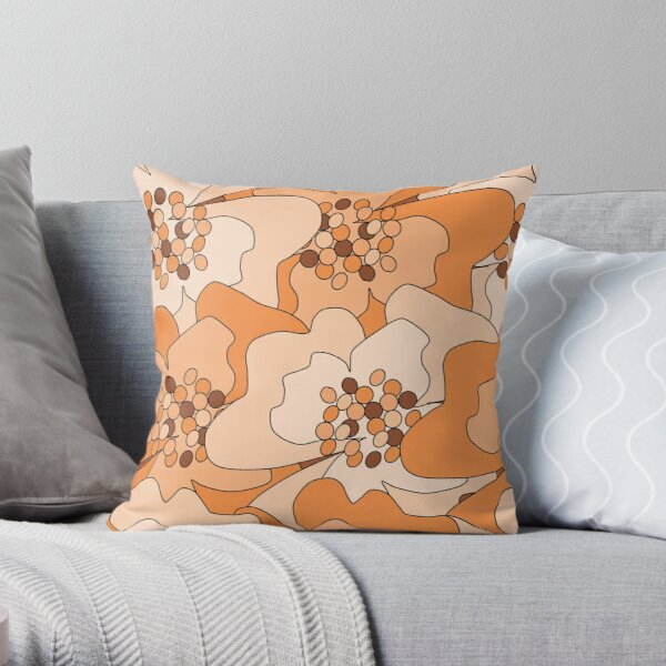 Peach Passion Flowers Throw Pillow