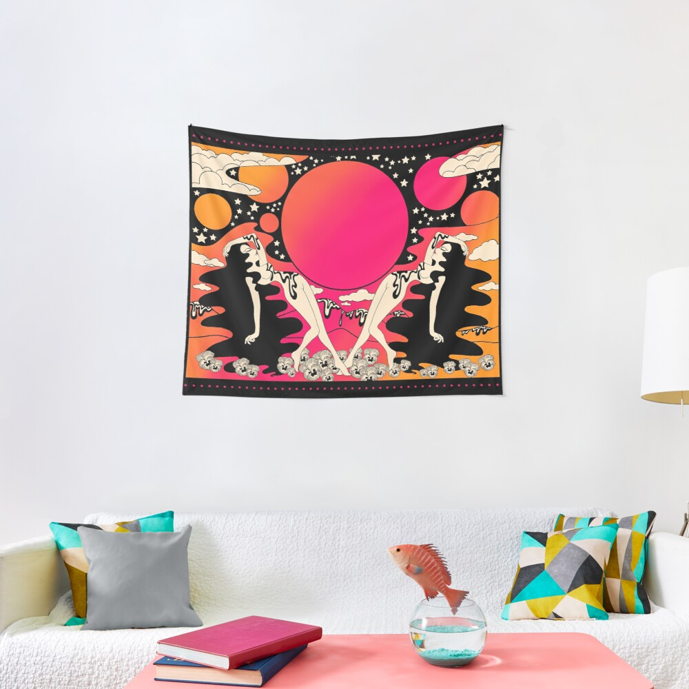 Groovy ladies at sunset  Tapestry