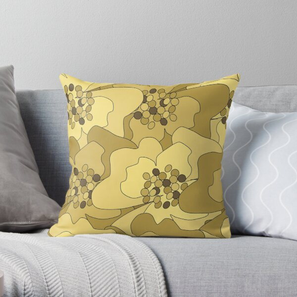 Vanilla Ochre Passion Flowers Throw Pillow