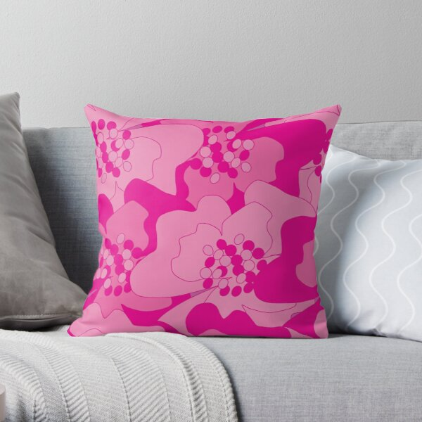 Magenta Passion Flowers Throw Pillow