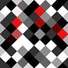 Bold Block Black White Red Diagonal Pattern by Ra12