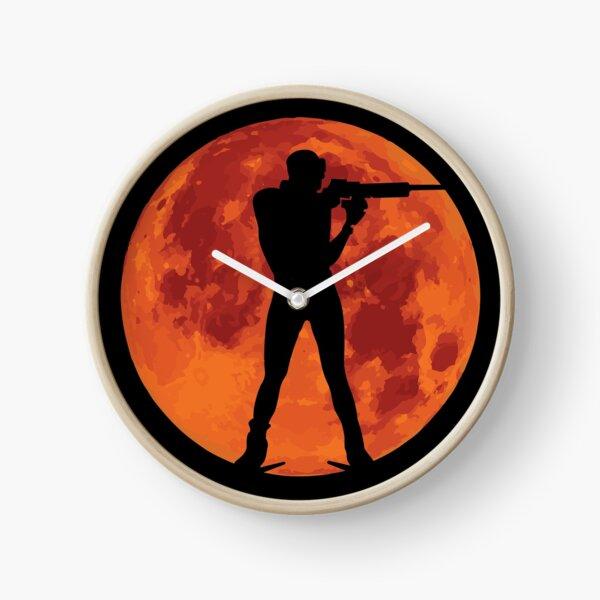 Biathlon Red Moon  Clock