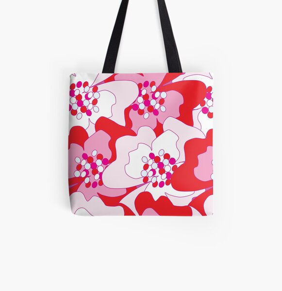Red Passion Flowers All Over Print Tote Bag