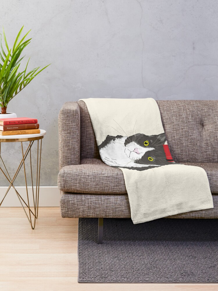 Alternate view of Fez Hat Cat Throw Blanket
