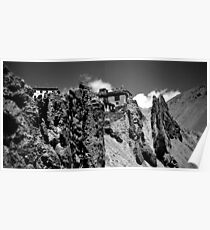 mountain gompa. spiti valley, india Poster