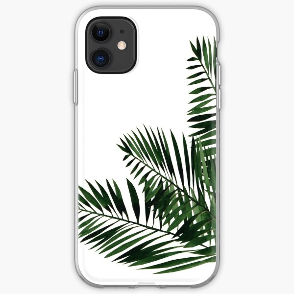 Tropical Exotic Palm Leaves on #Redbubble iPhone Soft Case